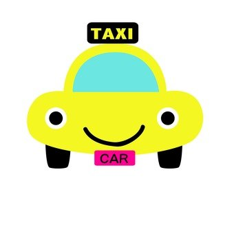 A laughing yellow taxi