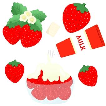Plenty of condensed milk strawberry and strawberry