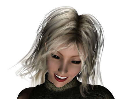 A woman's smile secretly hiding something