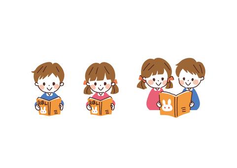 孩子們讀圖畫書