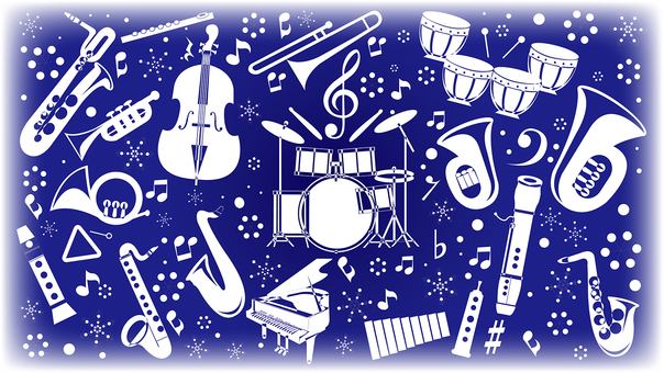 Musical instrument silhouette in winter 16: 9 size
