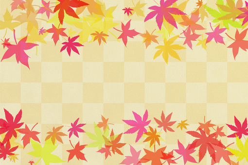 Autumn leaves frame checker pattern