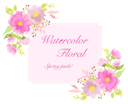 Watercolor flower pink frame