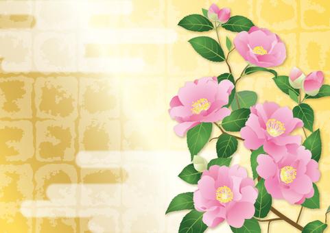 Broken gold foil _ mountain flower _ horizontal size