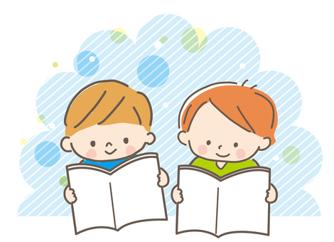 男孩讀一本圖畫書