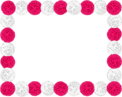 Paper flower frame (red and white)