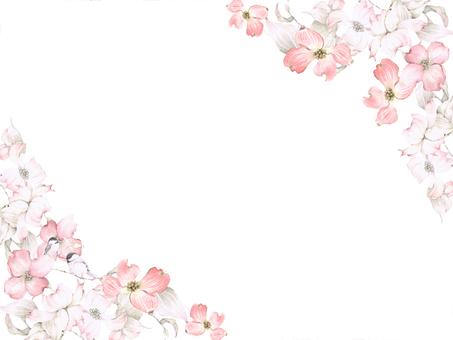 Flower frame 181 - pink dogwood key ring type flower frame
