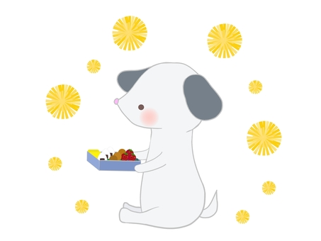 Dog and dandelion eating lunch