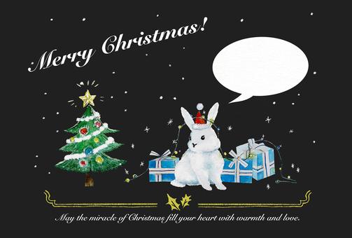 [Hand drawn style] Christmas rabbit card