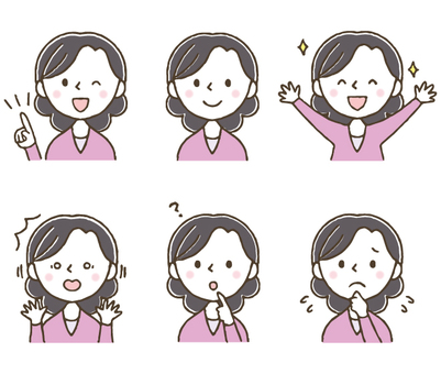 Cute female facial expression set / hand drawn / housewife