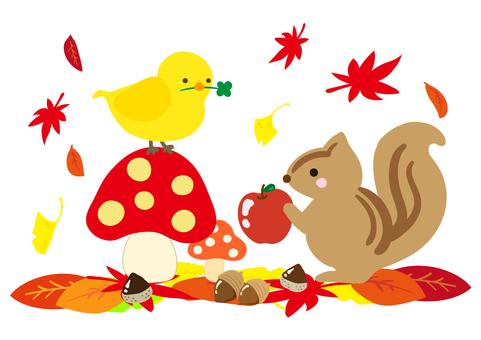 秋の森の小鳥とリス. きのこver.