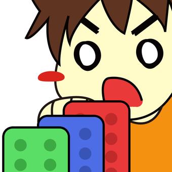 A boy who knocks Domino