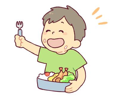 도시락을 먹는 소년 2