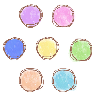 Round frame of watercolor touch
