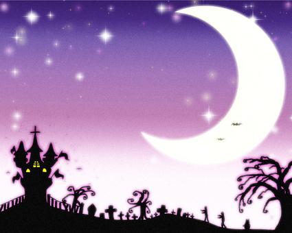 Halloween crescent moon purple mellow V
