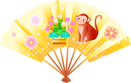 Fan and monkey illustration
