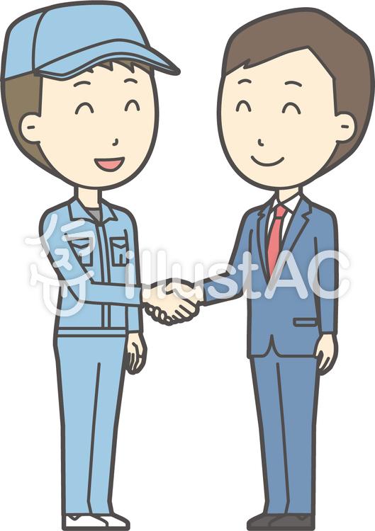 青年スーツ青と握手-004-全身のイラスト