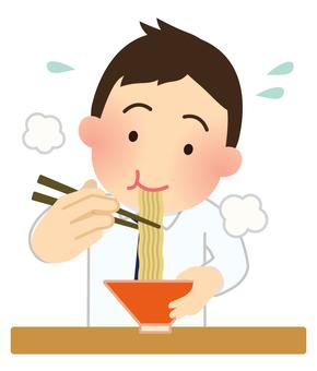 Illustration of men eating ramen