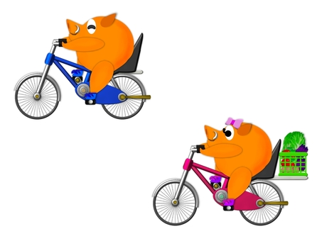 Bicycle and boar E0192