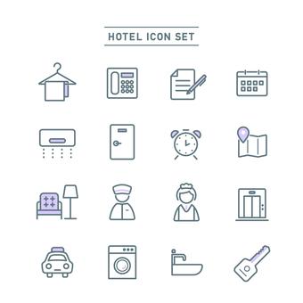 호텔 아이콘 세트