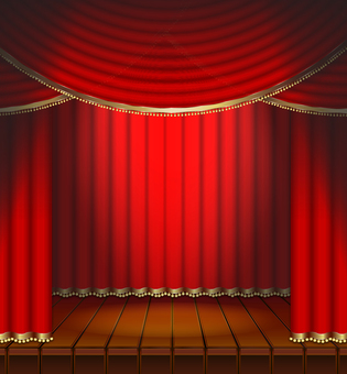 Stage of red curtain