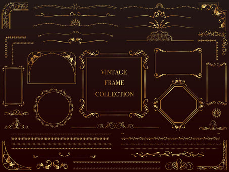 Gold vintage frame & border set