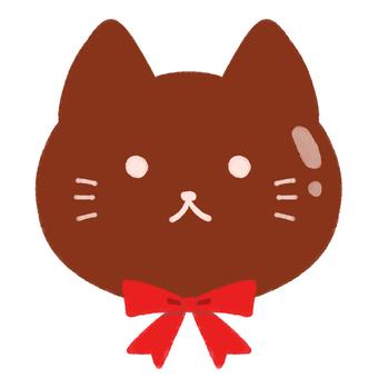 고양이 초코 (리본 포함)