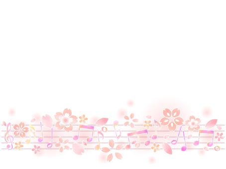 音符と桜の背景03