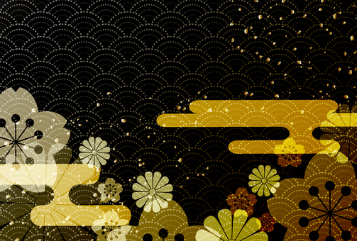 Japanese pattern background black