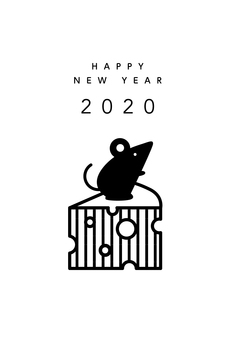 2020 New Year Card Rat and Cheese 02