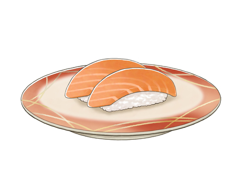 Conveyor belt sushi salmon