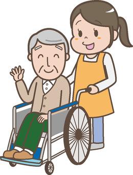 Wheelchair old man and nursing staff