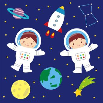 宇宙飛行士とロケット かわいい