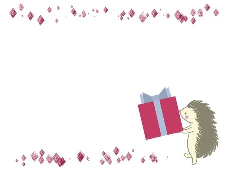 Hedgehog holding a present