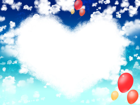 Blue sky and heart cloud