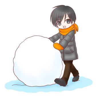 一起堆雪人(男孩)