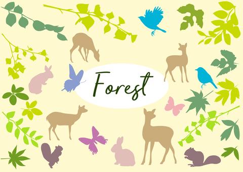 Forest animals silhouette set