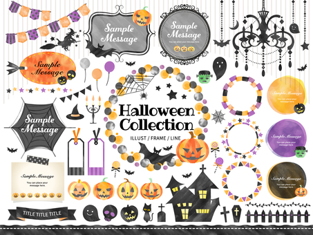 Halloween / Watercolor style frame set