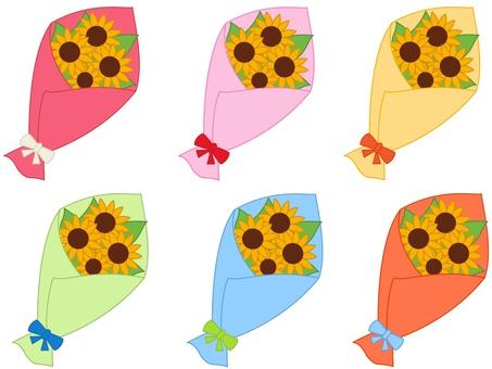 해바라기 꽃다발 6 색