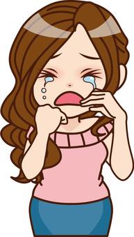 Adult female crying