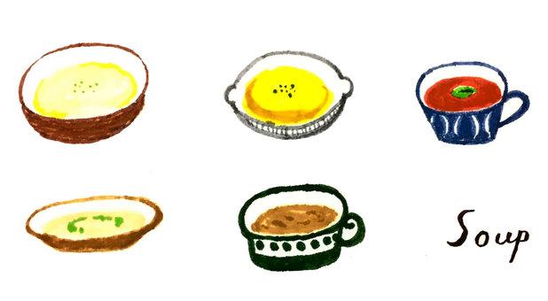 Soup drawn by watercolor