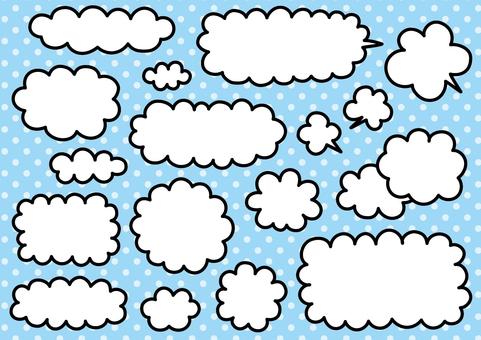 Handwritten cloud and balloon material set 01
