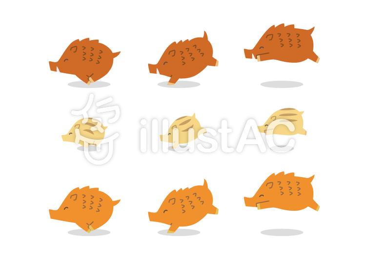 動物-イノシシ2のイラスト