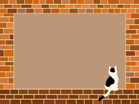 고양이와 벽돌 프레임