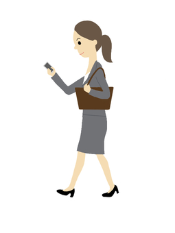 Walking smartphone woman