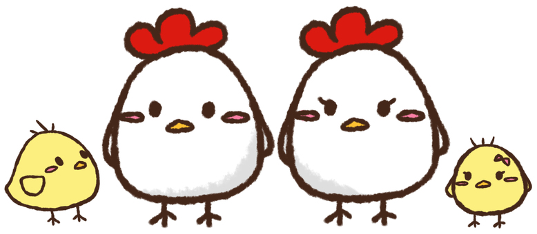 Rooster and chick ①
