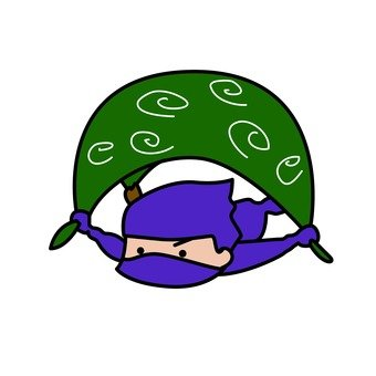 Purple Ninja flying in wrapping cloth