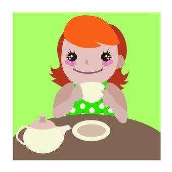 A woman drinking tea · a coffee shop