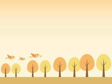 작은 새와 나무 프레임