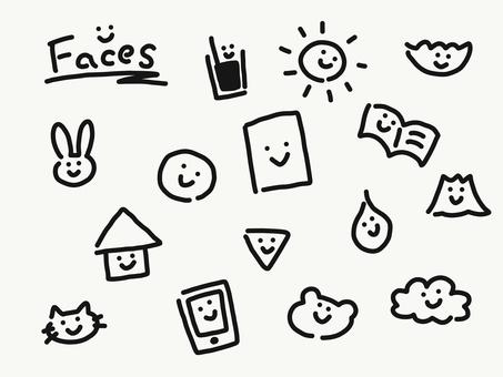 Simple face assortment monochrome